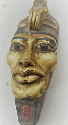 Wonderful Old Antique Egyptian Gold Gilded Facemask With Cobra