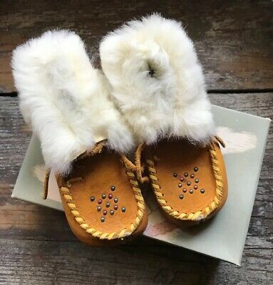 Vintage Leather Beaded Moccasins With Rabbit Fur Child's Size 6 ~ Vintage Box