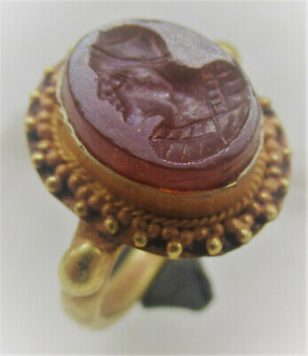 Scarce Ancient Roman High Carat Gold Filigree Seal Ring With Carnelian Intaglio