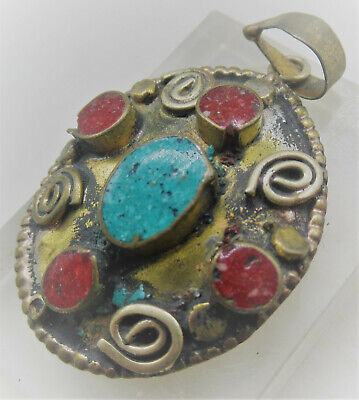 Nice Vintage Near Eastern Silver Gilt Pendant With Stone Inserts