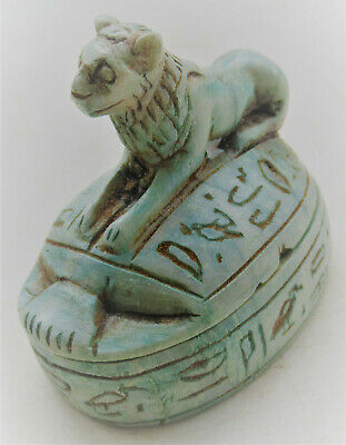 Beautiful Old Antique Egyptian Glazed Faience Scarab Sarcophagus