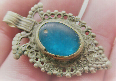 Wonderful Late Medieval Islamic Silvered Amulet With Blue Stone Inset