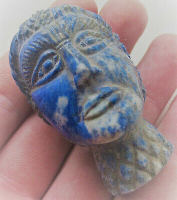Rare Ancient Sasanian Lapis Lazuli Carved Statue Fragment Worshipper Head