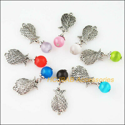 8 New Animal Wings Charms Tibetan Silver Tone Mixed Cat Eye Stone Pendants