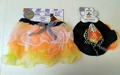 Candy Corn Tutu Witch Hat Rubie's Pet Shop M/L Dog New Costume Halloween Outfit