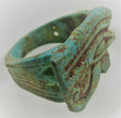Circa 500Bce Ancient Egyptian Glazed Faience Ring With Eye Of Horus
