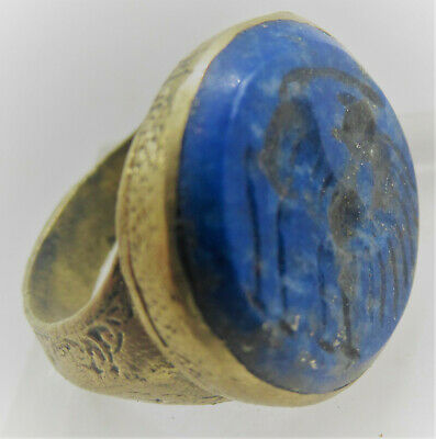 Superb Late Medieval Islamic Gold Gilded Ottoman Seal Ring Lapis Lazuli Intaglio