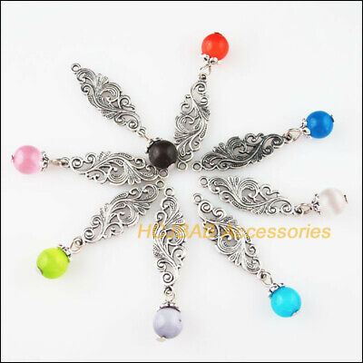 8 New Phoenix Flower Charms Tibetan Silver Tone Mixed Cat Eye Stone Pendants