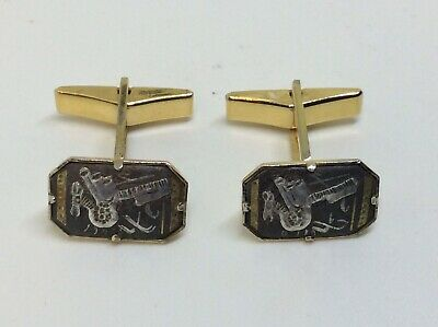 Fantastic Antique 9ct Rolled Gold Cufflinks With Solid Silver & Gold Inlay