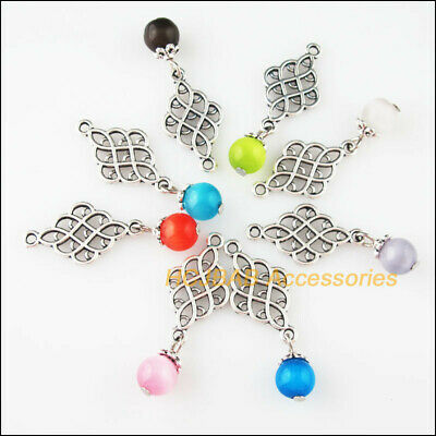8 New Chinese knot Charms Tibetan Silver Tone Mixed Cat Eye Stone Pendants