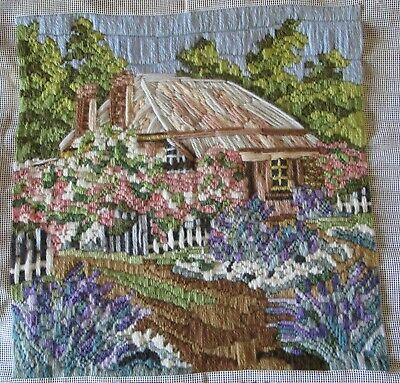 Completed TAPESTRY Long Stitch Needlepoint HANDMADE Cottage Unframed SEMCO Craft