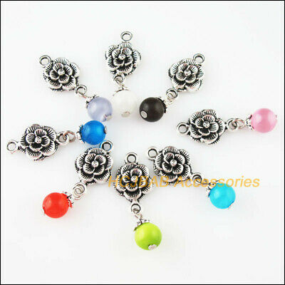 8 New Rose Flower Charms Tibetan Silver Tone Mixed Cat Eye Stone Pendants