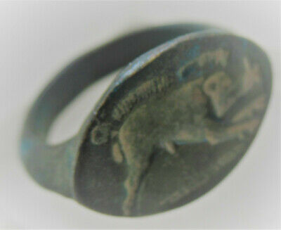 European Finds Ancient Roman Bronze Seal Ring With Depiction Of Boar