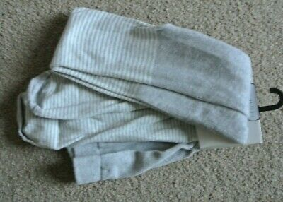 New Next girls tights light grey/ white stripes  size 11-12 years