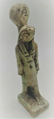 Beautiful Vintage Egyptian Glazed Stone Statuette Of Horus