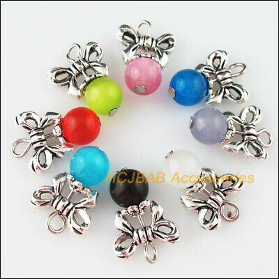 8 New Butterfly Bow Charms Tibetan Silver Mixed Cat Eye Stone Pendants 14x19mm