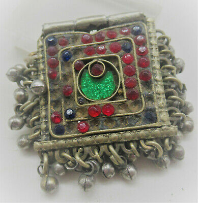 Lovely Late Medieval Islamic Ottomans Silvered Amulet With Stones