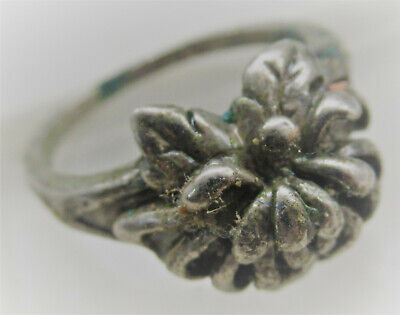 Old Antique British Silver Ring With Floral Bezel Very Nice