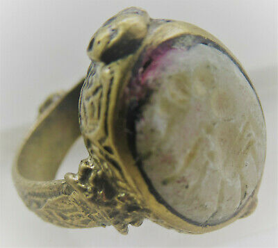 Beautiful Late Medieval Islamic Gold Gilded Ring With Crystal Stone Intaglio