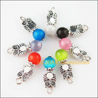 8 New Animal Owl Charms Tibetan Silver Tone Mixed Cat Eye Stone Pendants 8x23mm