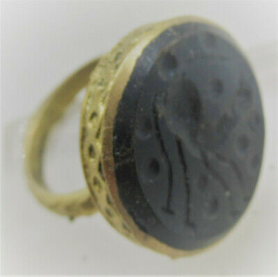 Late Medieval Islamic Ottomans Gold Gilded Seal Ring With Gazelle Intaglio