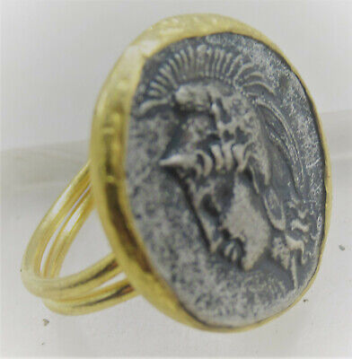 Beautiful Ancient Roman Style Gold Gilt Ring With Greek Coin Inset