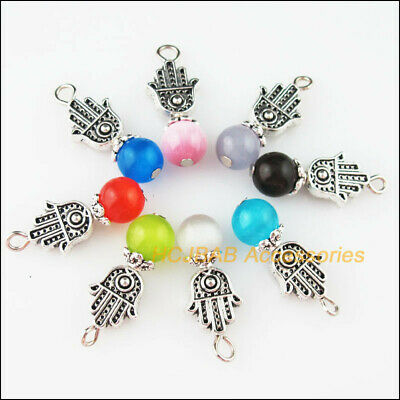 8 New Hand Palm Charms Tibetan Silver Tone Mixed Cat Eye Stone Pendants 10x25mm