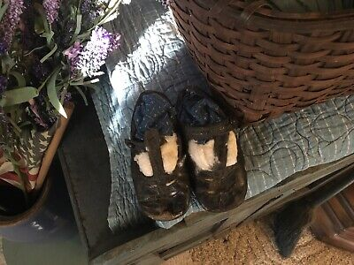 antique primitive pegrack girls Shoes black indigo blue stuffing aafa farm cabin
