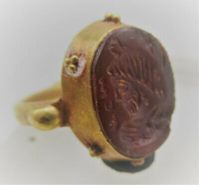 Ancient Sasanian Gold Ring With Carnelian Ruler Intaglio High Carat Gold Rare