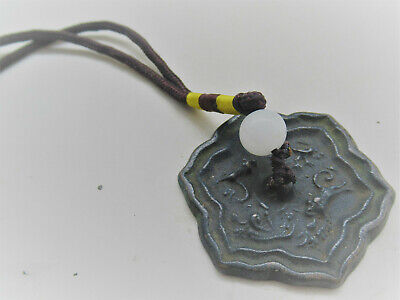 Ancient Chinese Miniature Bronze Mirror Restrung As A Pendant