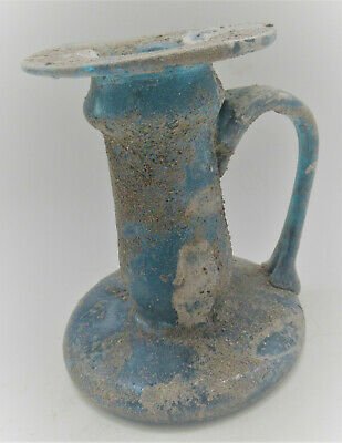 Circa 200-300Ad Ancient Roman Iridescent Blue Glass Vessel With Handle
