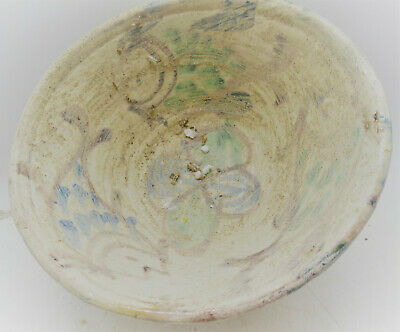 Ancient Islamic Glazed Seljuk Terracotta Bowl With Fish Motifs 1300Ad
