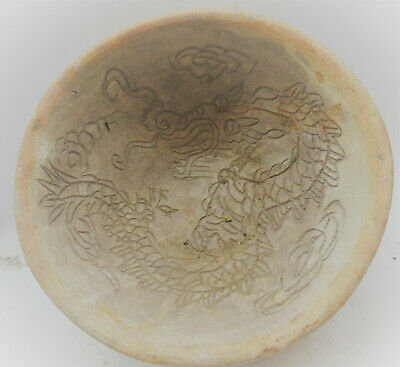 Beautiful Old Antique Chinese Ceramic Bowl With Dragon Motifs Very Nice