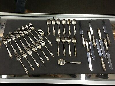 34 pc International Prelude sterling silverware set