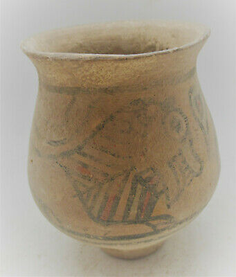 Ancient Indus Valley Harappan Terracotta Vessel With Beast Motifs 2000Bce