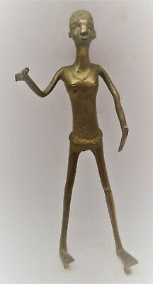 Interesting Unresearched Ancient Near Eastern Bronze Statue Male Figure