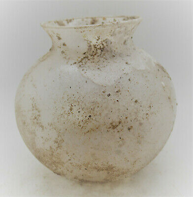 Circa 200-300Ad Ancient Roman Clear Glass Bulbous Vessel