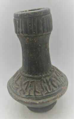 Ancient Islamic Bronze Vessel With Arabic Inscriptions Circa 1300-1400Ad