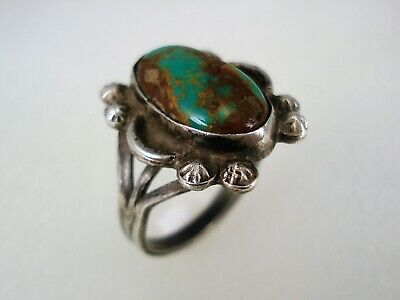 OLD HAND MADE NAVAJO STERLING SILVER & NATURAL CERRILLOS TURQUOISE RING sz 5.5