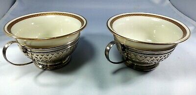 Matching Pair of  Lenox Bouillon Soup Bowls in Sterling Silver Gorham Holders