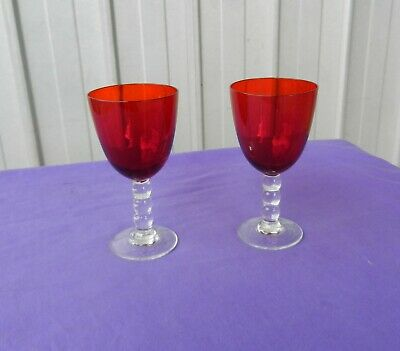 Cranberry Glass Sherry Port Glasses Hand Blown x 2 Antique Victorian
