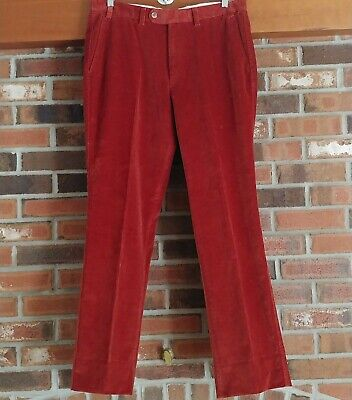 Vintage Mens Corduroy Pants Sz 35x32 Red 70s Retro Made in Romania Cords Trouser