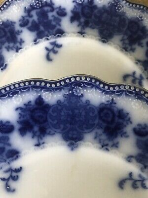 """(2) W.H. Grindley CLARENCE Flow Blue Plates 8 7/8"""" England"""