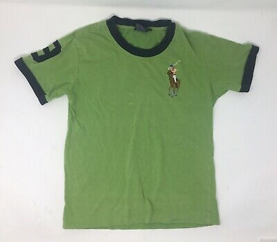 POLO RALPH LAUREN Boys T-Shirt Top 6yrs Green 100% Cotton Embroidered Horse/Pony