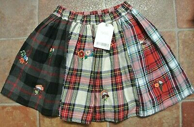 New Next girls 100% cotton Lined Tartan Skirt  Red/Black/White  age 2-3 years