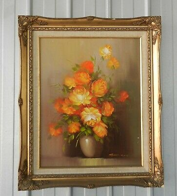 Robert Cox Oil Painting Roses Still Life On Board Flowers In A Vase