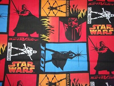 Star Wars Cotton Fabric Yoda Jedi Darth Vader Grievous Htf Oop