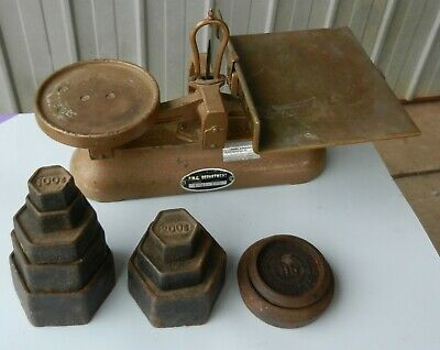 Balance Scales Avery Australian PMG Letter Weights Cast Brass Genuine Vintage