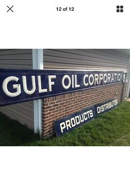 "18' Foot Long Gulf Oil Corporation Porcelain Advertising Sign 216"" X 22"" X 1"""