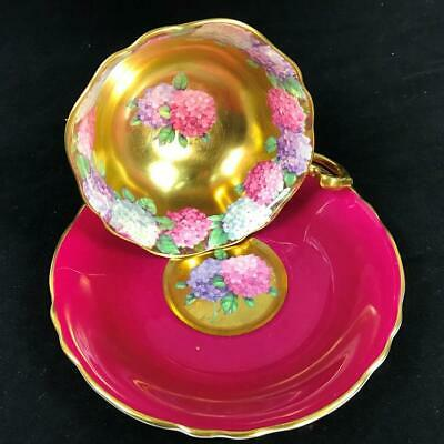 RARE Paragon Heavy Gold Centers Floating HYDRANGEA Garland Cup Saucer A1570/5